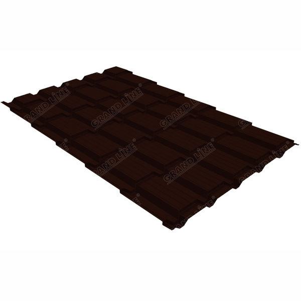 Металлочерепица Grand Line квадро профи 0.45 Drap RR 32 темно-коричневый