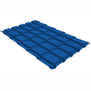 Металлочерепица Grand Line квадро профи 0,45 PE RAL 5005 Сигнальный синий