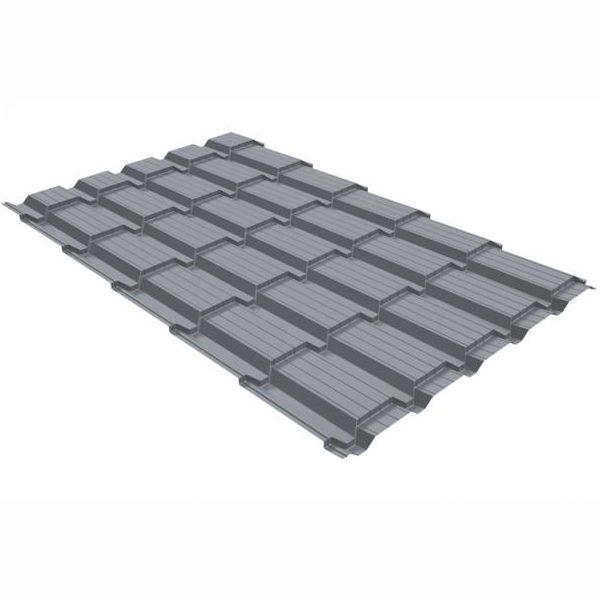 Металлочерепица Grand Line квадро профи 0,45 PE RAL 9006 Бело-алюминиевый