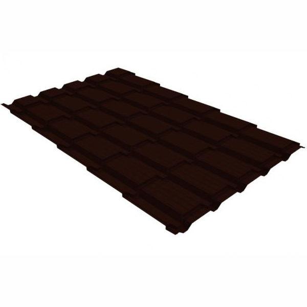 Металлочерепица Grand Line квадро профи 0,45 PE RR 32 темно-коричневый