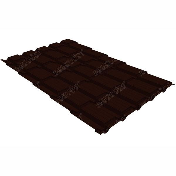 Металлочерепица Grand Line квадро профи 0.5 GreenСoat Pural BT RR 32 темно-коричневый