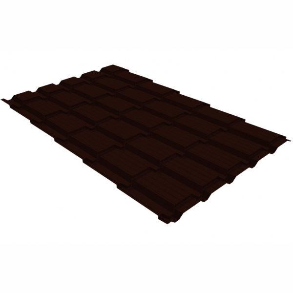 Металлочерепица Grand Line квадро профи 0.5 GreenСoat Pural Matt BT RR 32 темно-коричневый