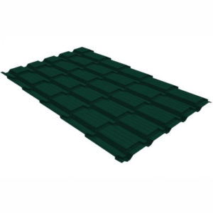 Металлочерепица Grand Line квадро профи 0.5 Quarzit lite RAL 6005 зеленый мох