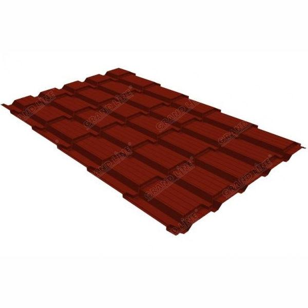 Металлочерепица Grand Line квадро профи 0.5 Quarzit lite RR 29 красный