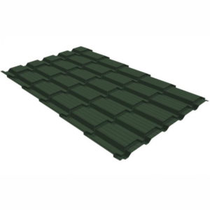 Металлочерепица Grand Line квадро профи 0.5 Velur20 RAL 6020 хромовая зелень