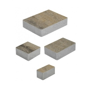 Тротуарные плиты ВЫБОР Искусственный камень МЮНХЕН Б.2.Фсм.6 Базальт- комплект из 4 плит