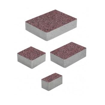 Тротуарные плиты ВЫБОР Гранит МЮНХЕН Б.2.Фсм.6 Красный с черным- комплект из 4 плит