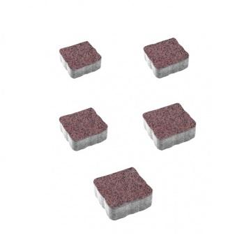 Тротуарные плиты ВЫБОР Гранит АНТИК А.3.А.4 Красный с черным - комплект из 5 плит
