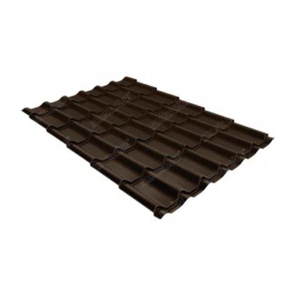 Металлочерепица Grand Line классик 0,5 GreenCoat Pural Matt тёмно-коричневый