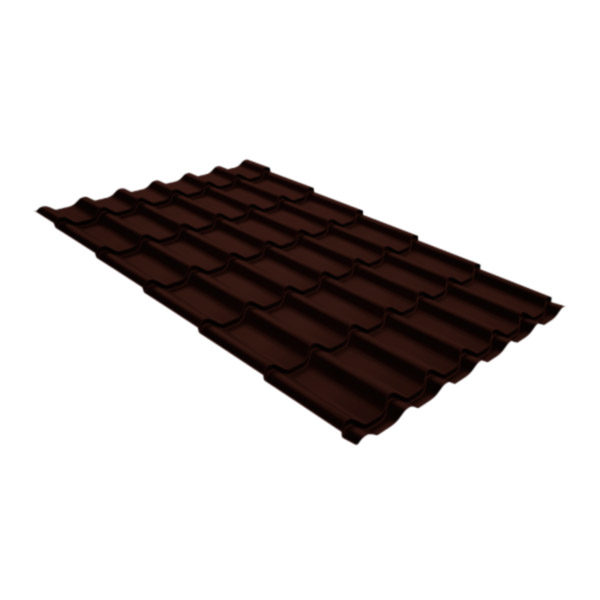 Металлочерепица Grand Line классик 0,5 GreenCoat Pural шоколадно-коричневый