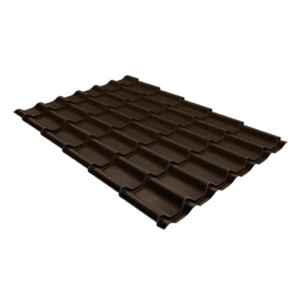 Металлочерепица Grand Line классик 0,5 Velur20 тёмно-коричневый