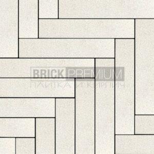 Тротуарная плитка Brick Premium Паркет Белый кристалл 65 мм