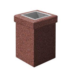 Урна бетонная ВЫБОР УРНА-1 400*400*600 Серо-красный Мытый бетон