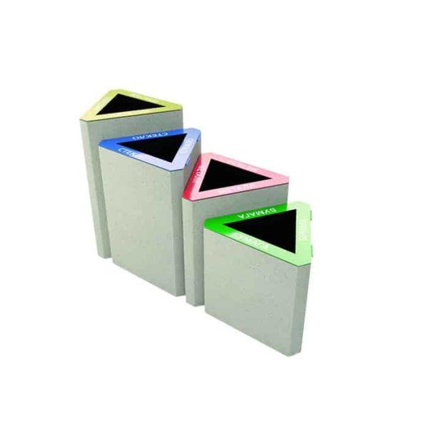 Урна бетонная ВЫБОР УРНА-4 , комплект из 4 урн для раздельного сбора мусора 500*500*800, 500*500*700, 500*500*600, 500*500*500 Белый Гранит